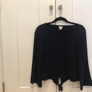 Navy bell sleeve sweater